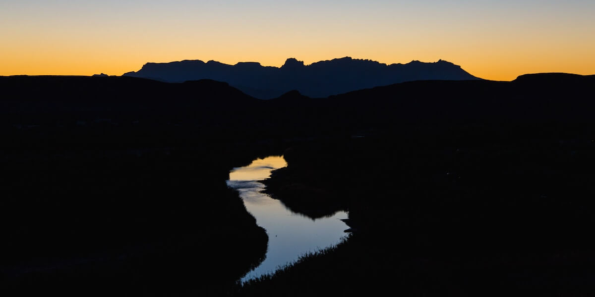 Silhouette of the Rio Grande through Big Bend National Park at sundown