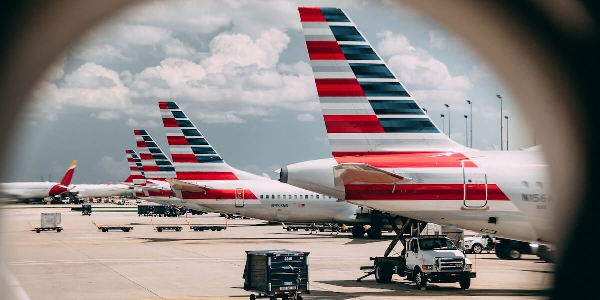 Row of planes with U.S. flag painted on their tails